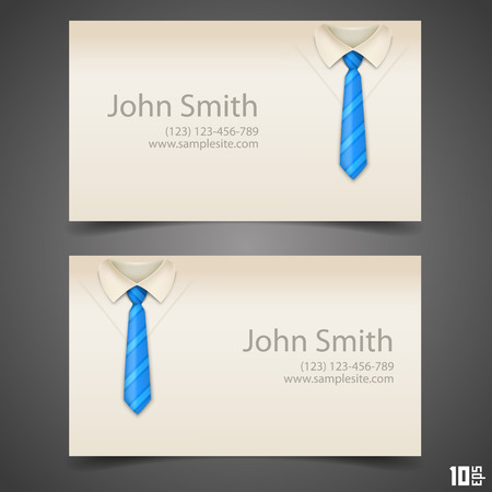 dressy: Shirt and tie vector business card art. Vector illustration