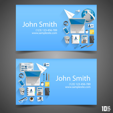 visiting card: Flat icons on cards art. Vector illustration