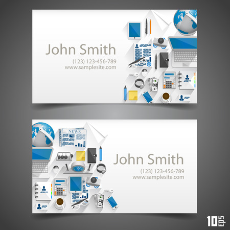 call card: Flat icons on cards art. Vector illustration