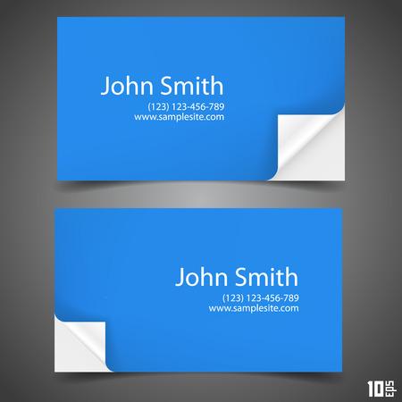folded paper: Business card blue art paper. Vector illustration