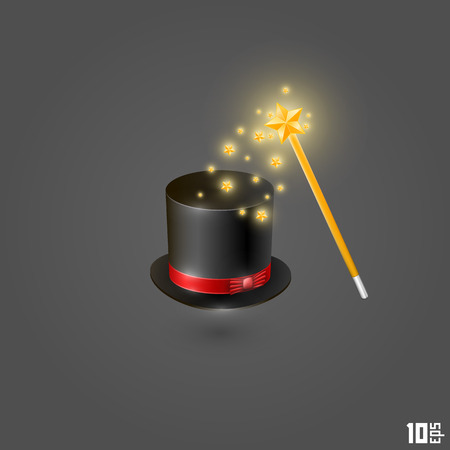 requisite: Hat and magic wand art. Vector illustration
