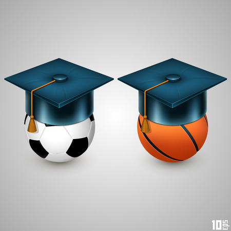 Graduate hat and sport art. Vector illustration Vector