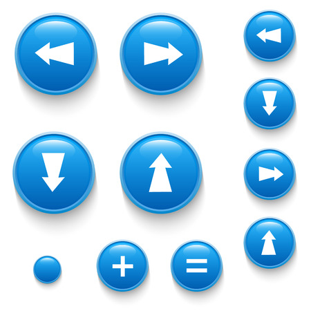 Directional buttons blue art arrow. Vector illustration
