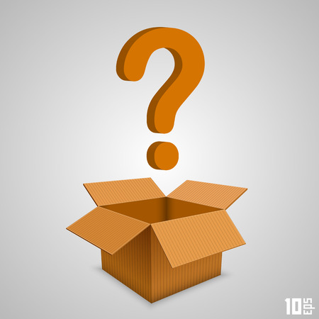 Open paper box with a question. Vector illustration Illustration