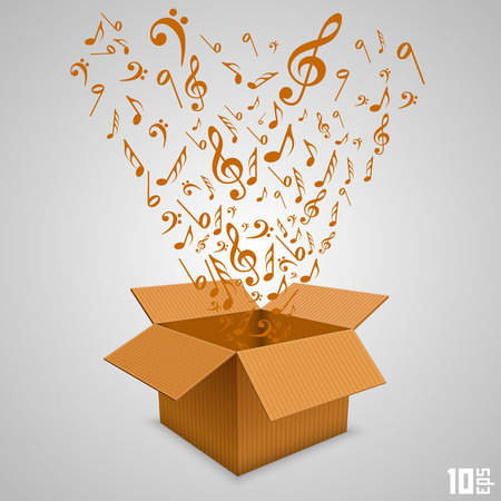 g clefs: Open paper box with notes. Vector illustration