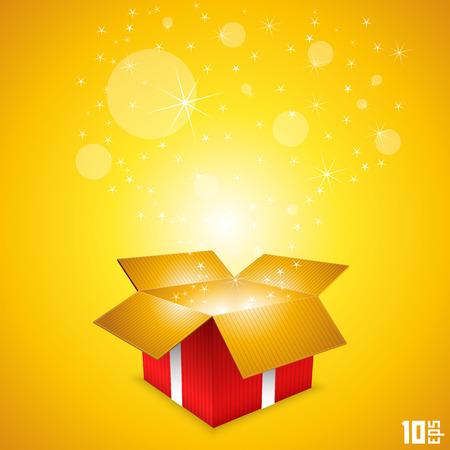 gift box open: Open gift card box art. Vector illustration