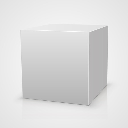 ebox: Blank box on white background with reflection. Vector illustration