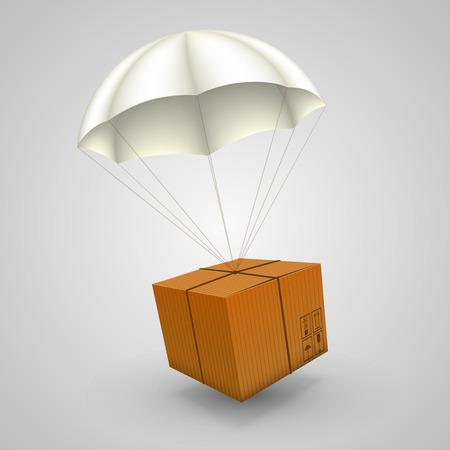 fallschirm: 3d Luftpakete auf weißem Hintergrund. Vektor-Illustration
