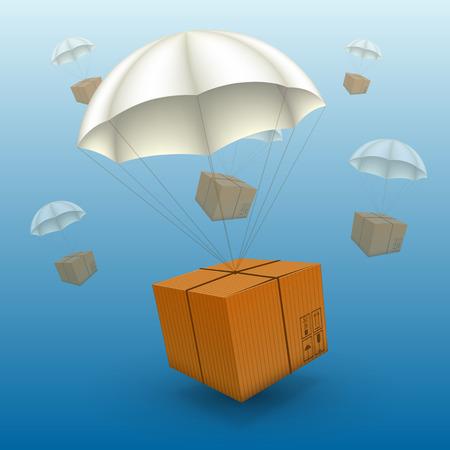 parcels: 3d air parcels on a white background. Vector illustration