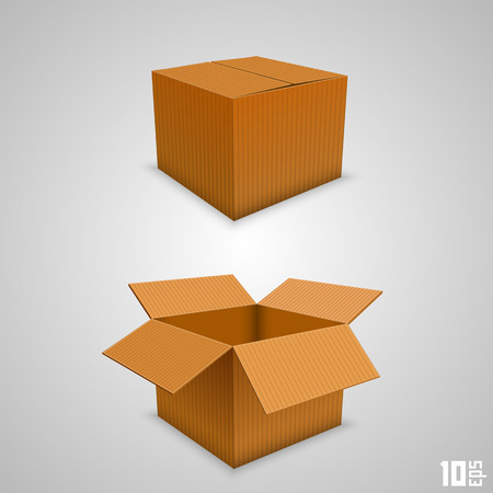 open present: Paper box open and closed. Vector illustration Illustration