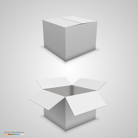 closed box: Paper box open and closed. Vector illustration Illustration