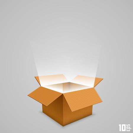 Open doos met de uitgaande licht. Vector illustratie Stock Illustratie