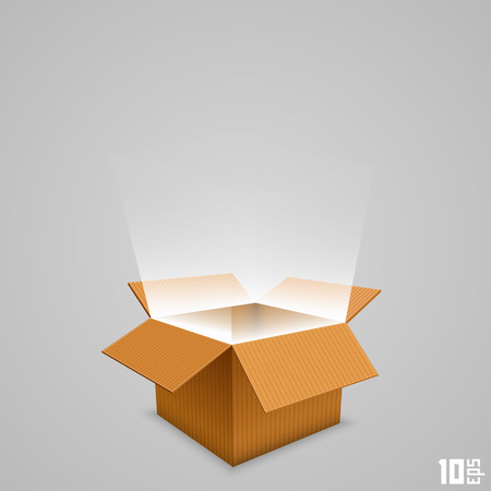 Open box with the outgoing light. Vector illustration Vettoriali
