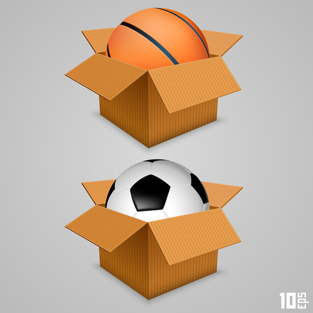 box of matches: The ball in the box. Vector illustration