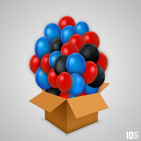 Open paper box with balloons. Vector illustration