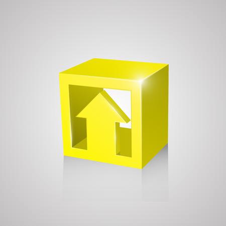 yellow  art: Caja con flecha, arte amarillo. Ilustraci�n vectorial