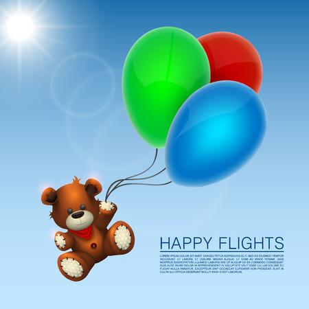 Bear flies on the balloons. Vector illustration Vector