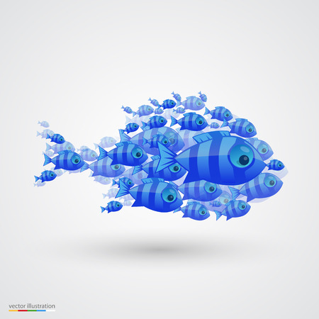 shoal: Pack of fish art icon. Vector illustration