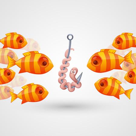 peck: Peck on bait fish art. Vector illustration Illustration