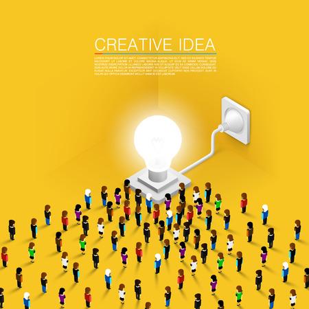 Masse der Leute, engagiert sich für die Idee, Standard-Bild - 36757216