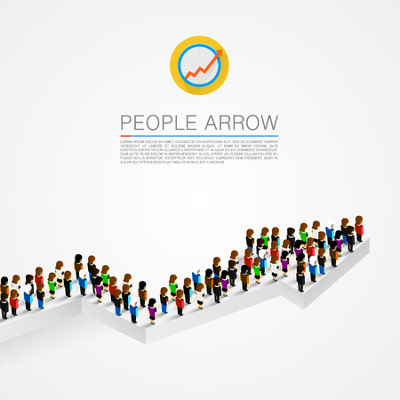 Große Gruppe von Menschen in der Form eines Pfeils