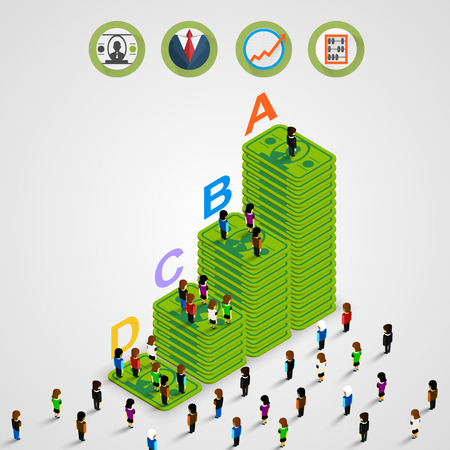 Isometric Pyramid money with people Vector