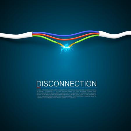 electricidad: Cable romper la cubierta de arte de desconexi�n. Vectores