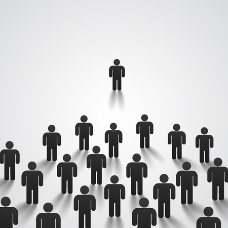 best employee: Leader stands in front of a crowd
