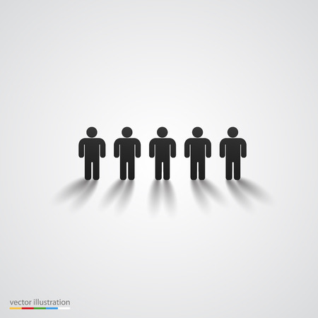 in a row: Black people silhouette row