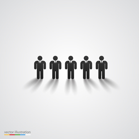 casual business team: Black people silhouette row