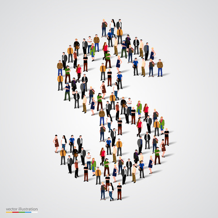 Large group of people forming the dollar sign