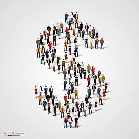 signos de pesos: Gran grupo de personas que forman el signo de dólar