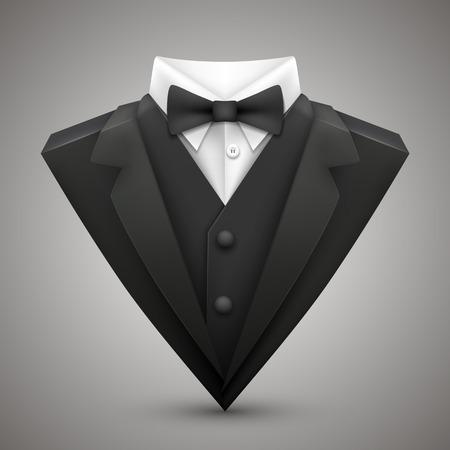 나비 넥타이와 삼각형 재킷 일러스트