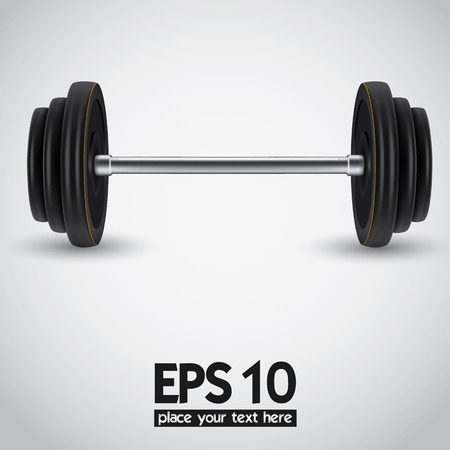 Black realistic weights illustration on white background.