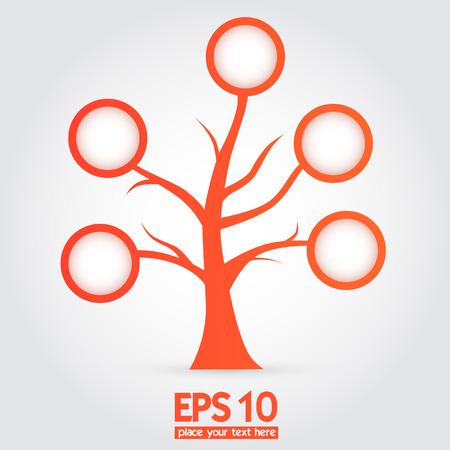 orange tree: orange tree with speech or information bubbles, Isolated on white background
