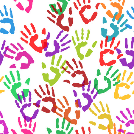 Seamless texture hand prints art sign Vector