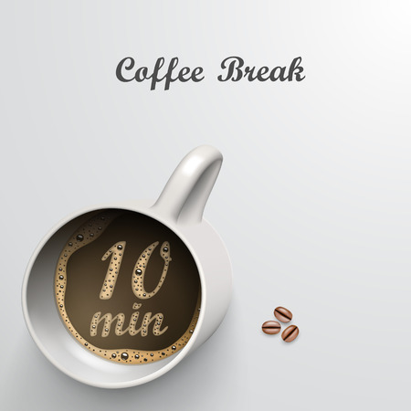 minutes: Cup with a time of 10 minutes break art Illustration
