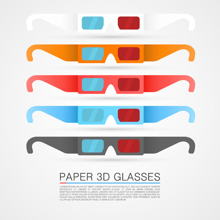 3d paper art: Set of paper 3d glasses art Illustration