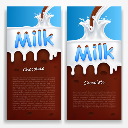 chocolate background: Milk with chocolate art banners