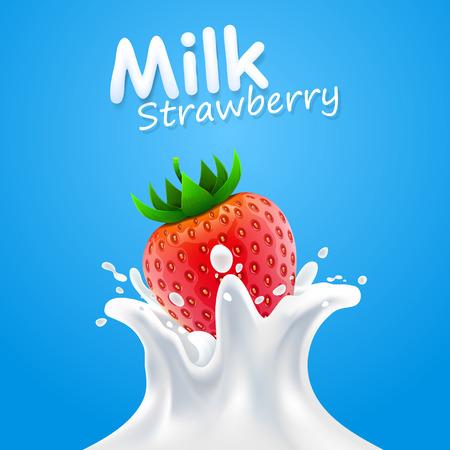 dint: Label of milk strawberry art banner Illustration