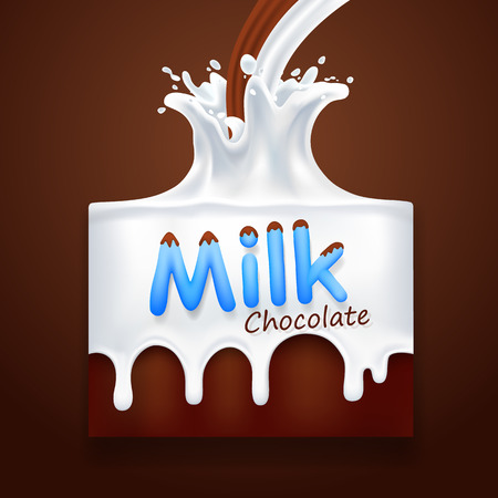 Milk with chocolate art banner Illustration