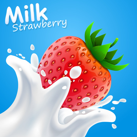 milk products: Label of milk strawberry art banner Illustration