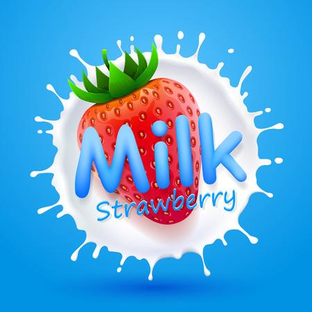 mleka: Etykieta mleka truskawki banner sztuki Ilustracja