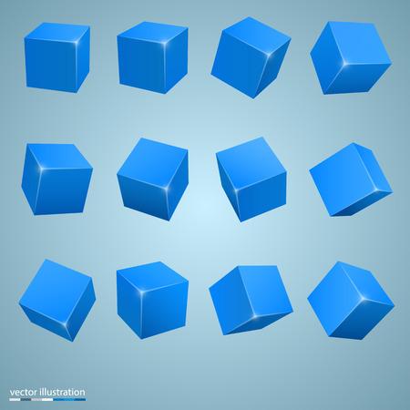 3d art: colored cubes 3d art object Illustration