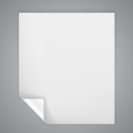 Sheet of paper with a bent on corner Illustration