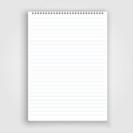 hoja en blanco: Blank realista libreta espiral aislados en blanco Vectores