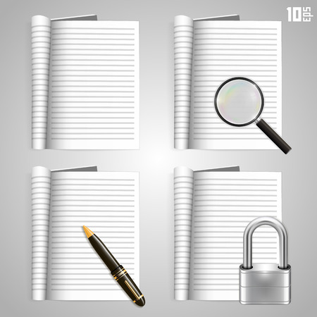 Collection of icons, open the paper journal Vector