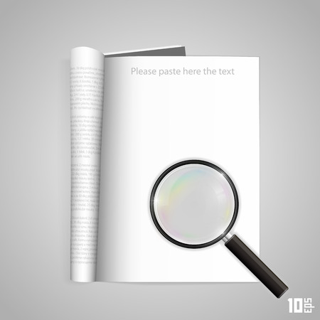 Open paper magazine with magnifying. Vector illustration Vector