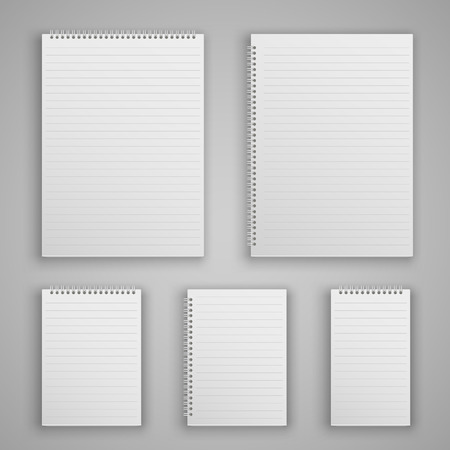 Set blank realistic spiral notepad notebook isolated on white