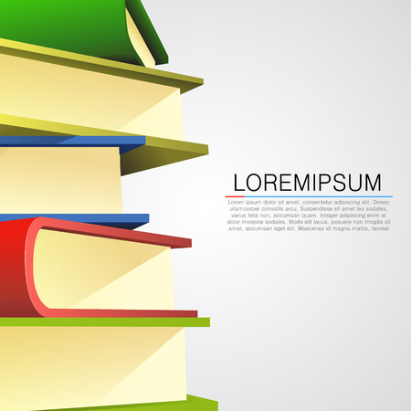 Book stack on white background. Vector illustration